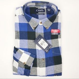 CHAPS Men's Flannel Fleece Plaid Blue Shirt - BNWT